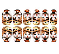12PCS Belle Porter Chapeau de Art Chaton Motif ongles lumineux autocollants