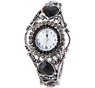 Women's Bohemia Style Black Crystal Silver Alloy Quartz Bracelet Watch