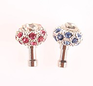 Set Auger Crown Atyle 3.5 MM Zircon Anti-dust Earphone Jack for iPhone and iPad (Assorted Colors)