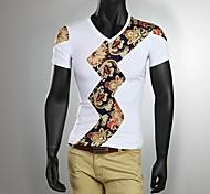 Men's Short Sleeve T-Shirt , Cotton Casual Print