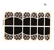 12PCS Deficiency Flower Shape Black Lace Nail Art Stickers NO.14