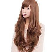 Lady Woman Daily Lovely Long Side Bang Synthetic Wavy Wigs 5 Colors Available