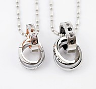 Fashion Silver Three Rings  Couple Titanium Steel Pendant Necklace
