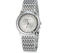 Women's Round Dial Steel Band Quartz Wrist Watch (Assorted Colors)