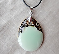 Classic (Light Green Ceramic Drop Pendant) Black Fabric Pendant Necklace (1 Pc)