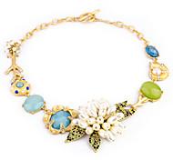 multicolor weet (flor con hojas colgante) collar de oro ECLARACIÓN aleación (1 pc)