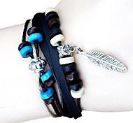 Fashion leather bracelet beaded leaves
