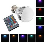 E26/E27 3 W 1 High Power LED 240 LM RGB Globe Bulbs AC 220-240 V