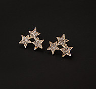 Rhinestone Three Star Stud Earrings