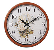 "14""H Retro Style Vintage Metal Wall Clock With Brown Side"