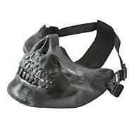 SILVER GRAY HALF FACE SKELETON MASK