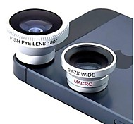 3-in-one Magnetic Wide Angle and Macro Lens and 180° Fish Eye Lens Kit Set for iPhone, iPad and Other Cellphone