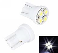 Merdia 4W 110LM T10 4x3528SMD LED de luz blanca luz de la matrícula / Instrumento de la lámpara (2 PCS/12V)