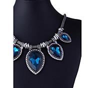 vintage europeu (teardrop) blue declaração jóia colar (1 pc)