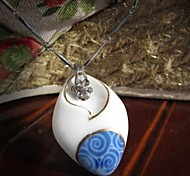 Fashion Blue And White Texture Ceramic Necklace