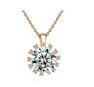 18 quilates de oro rosa plateó Sparkling Top Circonita simulado collar colgante de diamantes