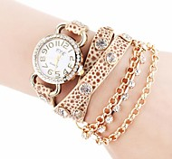 Women's Chain Pattern Golden Dial PU Band Quartz Analog Wrist Watch with Rhinestone (Assorted Colors)