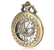 Men's Hollow Ruler Cover Bronze Alloy Quartz Pocket Watch