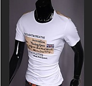 Men's Print Casual T-Shirt,Cotton Short Sleeve-Black / Orange / White