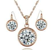 Lovely 18K Rose Gold Plated 1.5CT Simulated Diamond Pendant Wedding Necklace Earrings Set