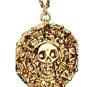 Piratas do Caribe asteca antigo Colar Pingente crânio do ouro Exagerado Colar Vintage Fashion Men