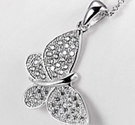 Classic Butterfly Zircon Silver Plated Platinum Necklace