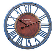 "18""H Wood Blue Roman Numbers Wall Clock"