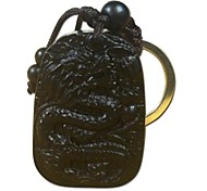 Duo Ji Mi ®  Dragon Key Chain Ebony Traditional Chinese Sculpture Safe Car Keys Pendantt
