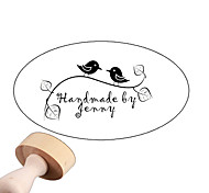 Personalized 30x40mm Wedding & Business Bird Pattern 2 Lines Oval Carved Boxwood Signet Name Stamp(within 10 Letters)