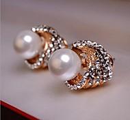 Europea Vintage (redondo) White Pearl Stud Earrings (1 par)