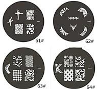 1 Parte M Series arredondado Abstract Design Nail Art Stamp Estamparia Imagem da Placa NO.61-64 (Padrão sortidas)