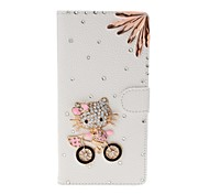 DIY Kitty and Irregular Rhinestone Pattern Litchi Texture Leather Case with Stand for Sony Xperia T2 Ultra