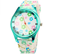 Women's Colorful Flower Green Case Silicone Band Quartz Wrist Watch