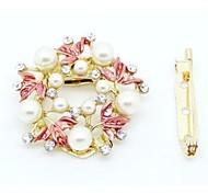 Fashion Wreath 0f Pearl And Rhinestone Brooch
