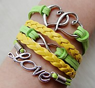 Western 20cm Women's Green Yellow Silver Alloy Wrap Bracelet(1Pc)
