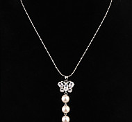 Gift For Mother European Butterfly Shape With Pearls (Butterfly) Gold Alloy Pendant Necklace(White,Black) (1 Pc)