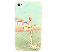 Modèle de girafe de bande dessinée de printemps de couverture de caisse en plastique dur Retour pour l'iphone 4G/4S