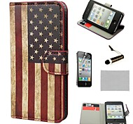 COCO FUN® Retro USA Flag Wallet Full Body PU Leather Hard Cases with Stand for iPhone 4S included Film and Stylus