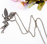 Vintage Dancing Girl Alloy Pendant Necklace (1 Pc)