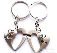 (2 PC)Beautiful Vogue Romantic Love Heart Shape Stainless Steel Couple Keychain