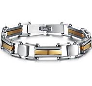 Domineering Cool Street Character Charm Between Gold Man Titanium Steel Bracelet