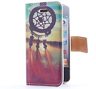 Dream Catcher and Sunset Style Flip Leather Case with Stand and Card Slot for iPhone 4/4S