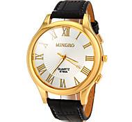 Men's Gold Roman Number Dial PU Band Quartz Wrist Watch(Assorted Colors)