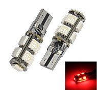 Errore Merdia T10 9x5050SMD Red LED lampadina gratuita Canbus luce dell'automobile (12V / coppia)