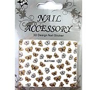 8PCS 3D Glitter Mixs Pattern Metal Nail Art Stickers