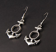 Cute Anchor Silver Alloy Earrings(1 Pair)
