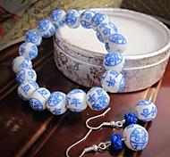 Festival Blue And White Porcelain Jewelry Set (Including Bracelet, Earring)