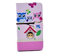 Owl Family Pattern PU Leather Case with Stand Card Money Holder for Samsung Galaxy Note3 N9000