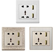 EU + US + UK + Dual-USB AC Power Socket Panel