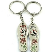 (2 PC) Beautiful Fashion Creative Insoles Butterfly Flower Lovers High-Grade Stainless Stee Keychain